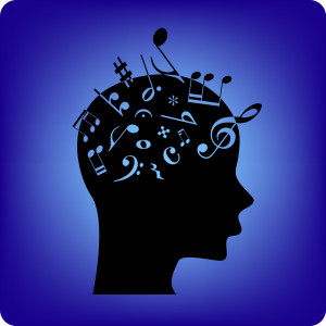 Musical notes spilling out from the brain. Musical notes are fonts from free database.